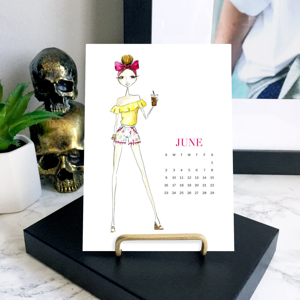 fashion illustrated desktop calendar