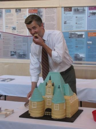 Mayor Ness; Depot celebration cake