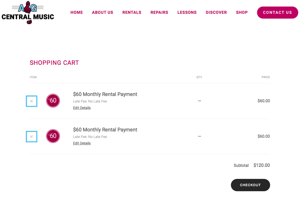 "To delete a payment, or item from your cart, go to your cart, then click/tap the gray ""x"" to the left of the listed item."