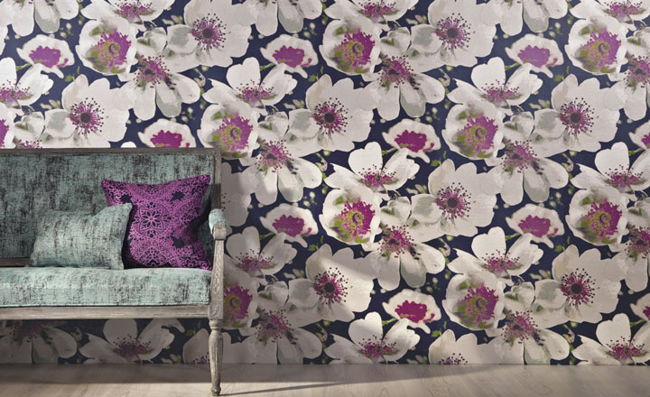 Again from Romo black new collection, inspired by hand paint Kimono. It also has matching or co-ordinating fabric.