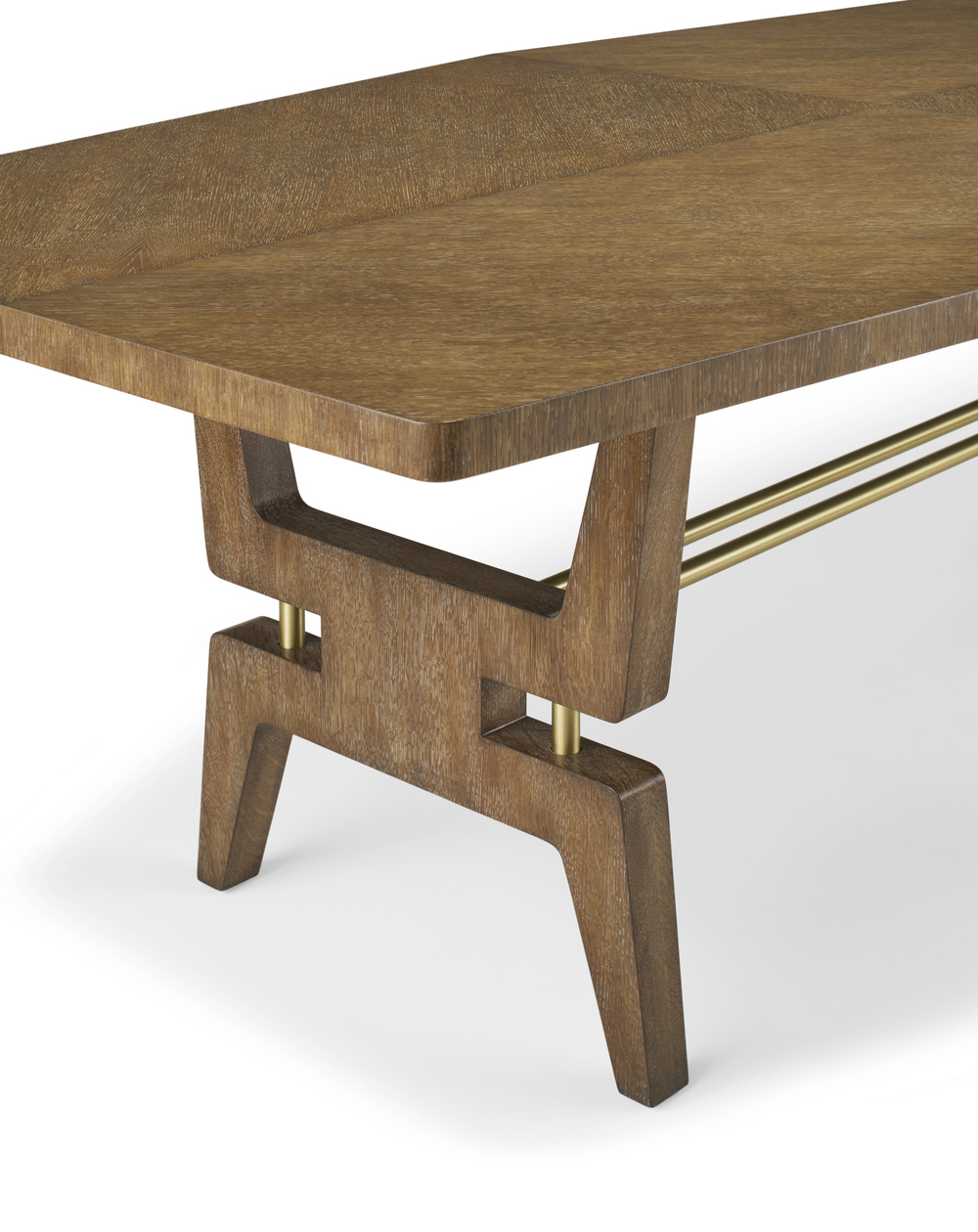 Turin Dining Table, Oak & Brass
