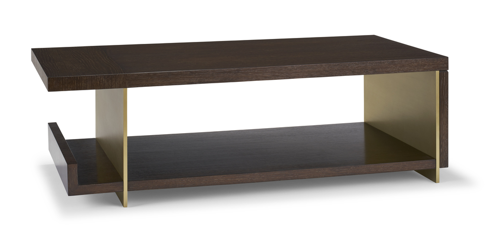 Gia Coffee Table, Oak & Brass