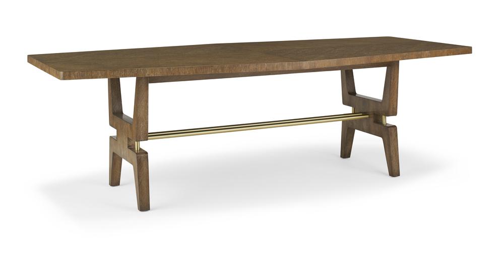 Turin Dining Table, Oak & Brass