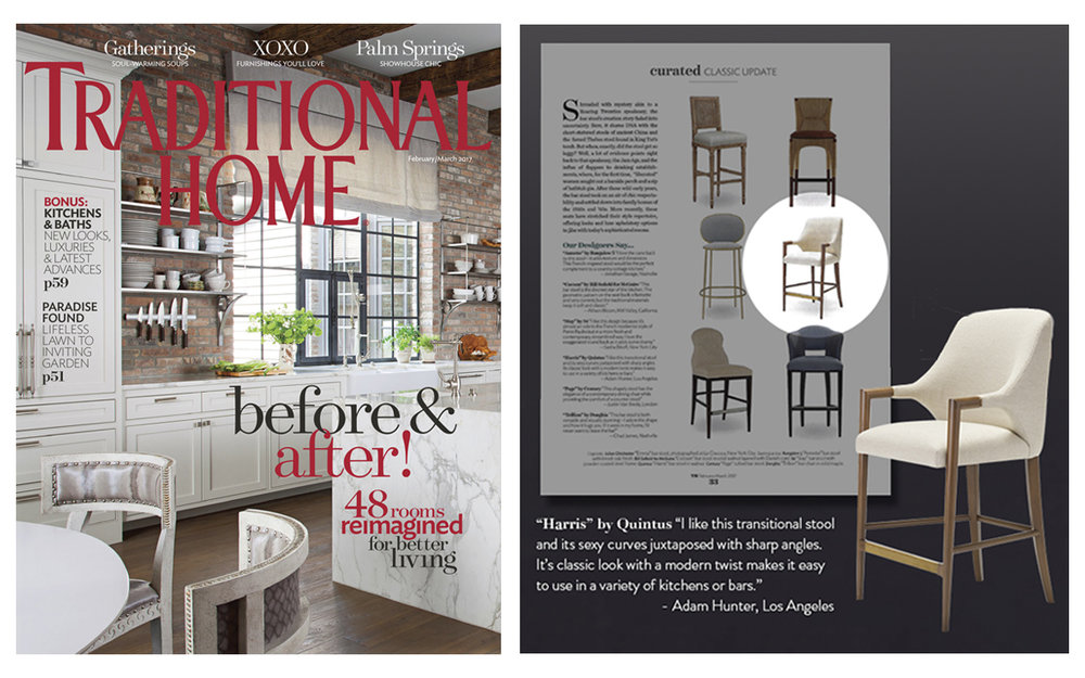 "The Harris Arm Barstool featured in ""Traditional Home"" February/March 2017"
