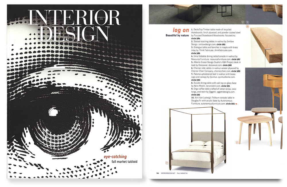 "The Paloma Bed featured in ""Interior Design"" Magazine's Fall Market Tabloid, October 2016"