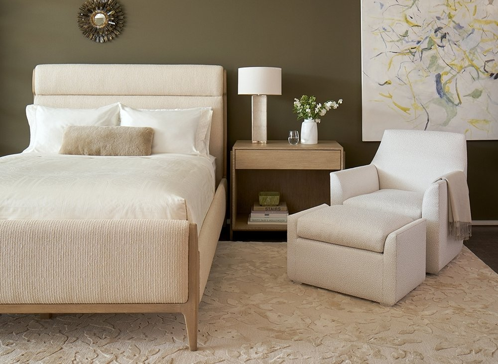 Luca Queen Bed, Strato Bedside in Oak & Brass, and Camille Lounge and Ottoman- Elisa Carlucci for Quintus. quintushome.com, elisacarlucci.com