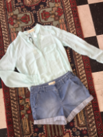 Bella Dhal Denim Shorts Paired with Blue Bella Dhal Top