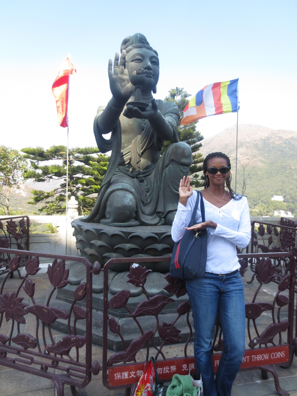 At the Big Buddha in Hong Kong.