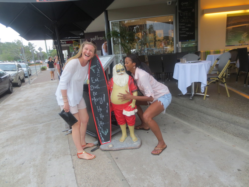Getting down with Santa and Margot in Noosa, Australia. (Gotta love a warm Christmas.)