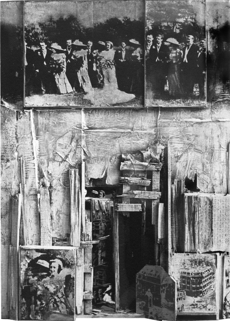 "THE WEDDING PARTY 1968 : The Marraige of Robert Whitehead over the ruins of Dresden  48""x 67""x 9"""