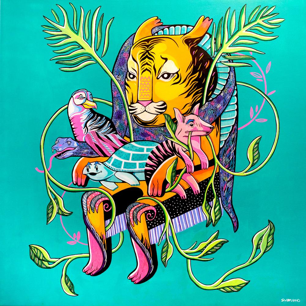 'Throne' acrylic on canvas 1m x 1m