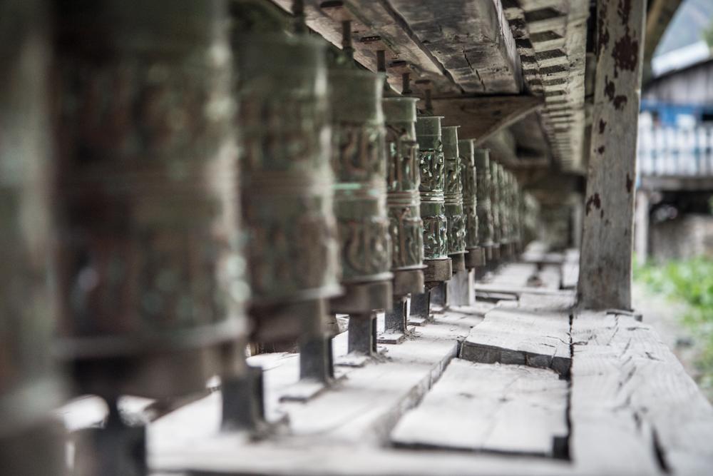 prayer wheel - Om mani padme hum. Every turn is one prayer.