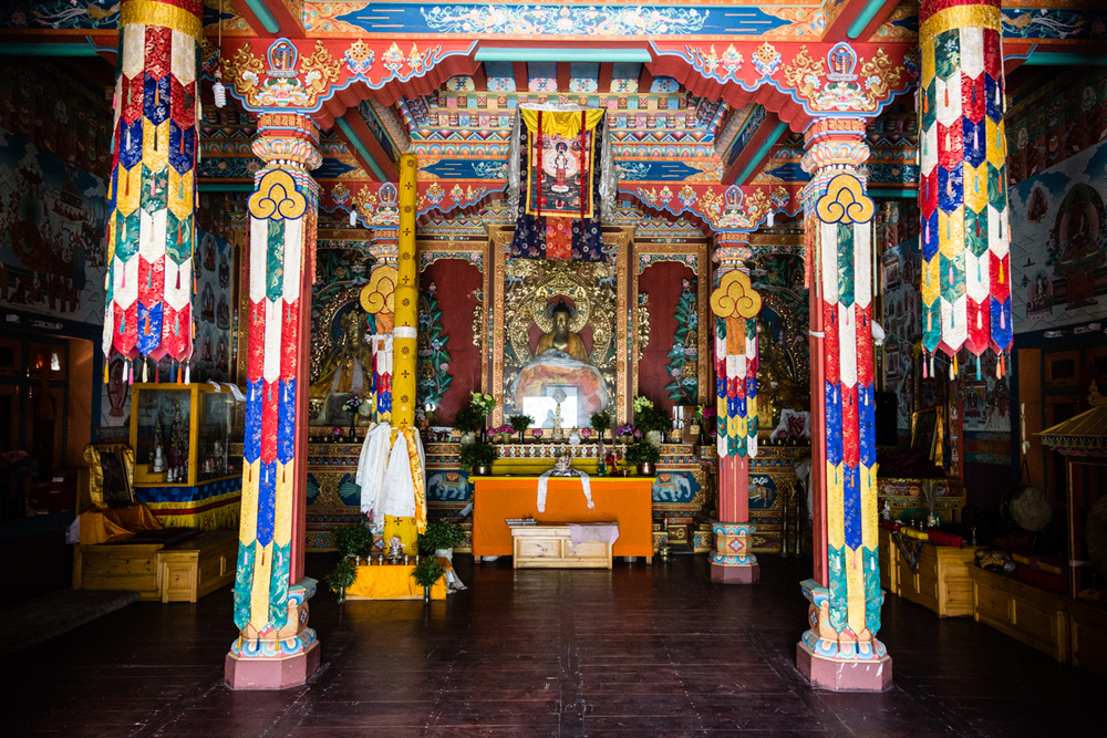 Avalokieswara, The Buddha and Guru Rimpoche inside the Upper Pisang Gompa.