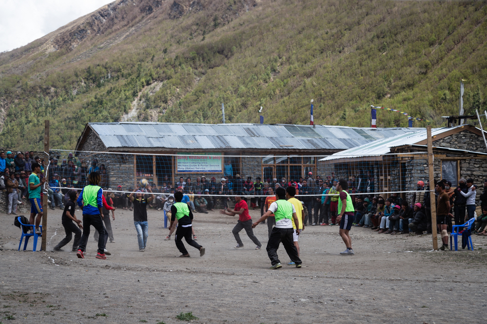 Upon arriving to Khangsar, we met the entire village watching the volleyball tournament.