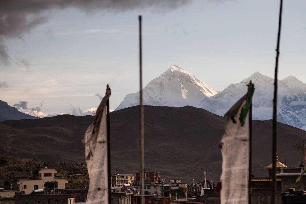 Dhaulagiri and Mt. Tukuche with evening sunlight.