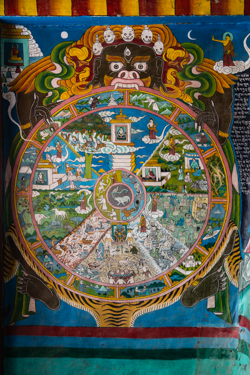 Wheel of life outside the gompa.