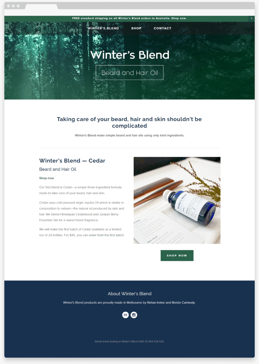 Brand and Website design by Renée Carmody Design   for Winter's Blend—a beard and hair oil company using only kind ingredients.