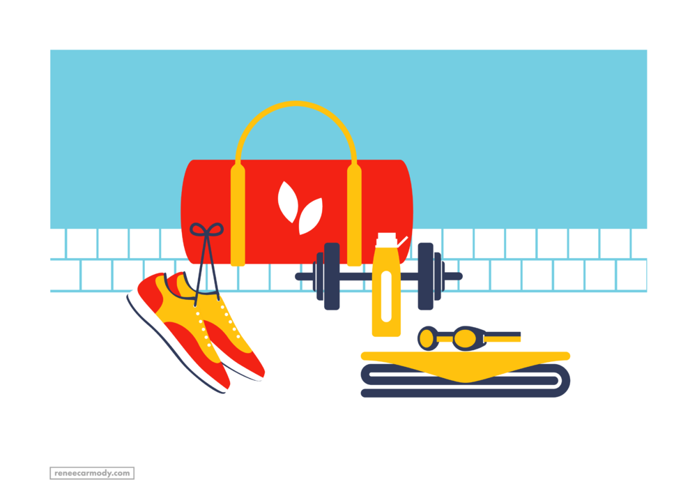 Health and fitness illustration by Renee Carmody Design for Flourish Parkside, comissioned by Savi Communications—www.reneecarmody.com