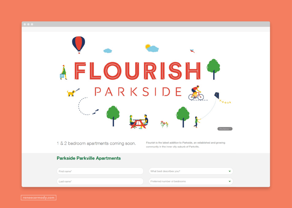 Website   illustrations by Renee Carmody Design for Flourish Parkside, comissioned by Savi Communications—www.reneecarmody.com