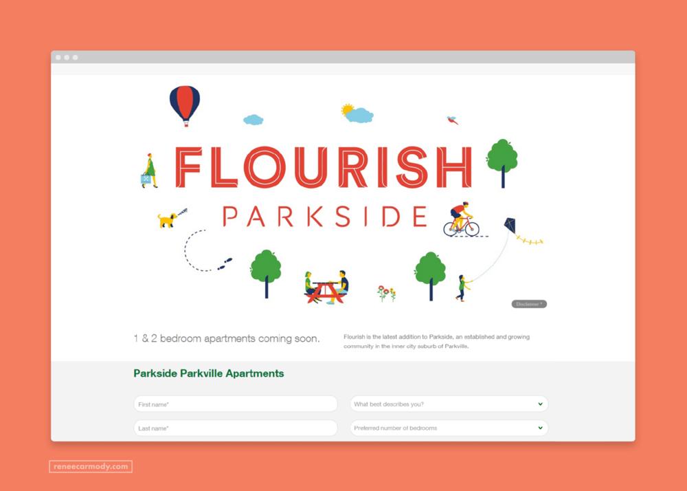 Website  illustrations by Renee Carmody Design for Flourish Parkside, comissioned by Savi Communications—www.reneecarmody.com