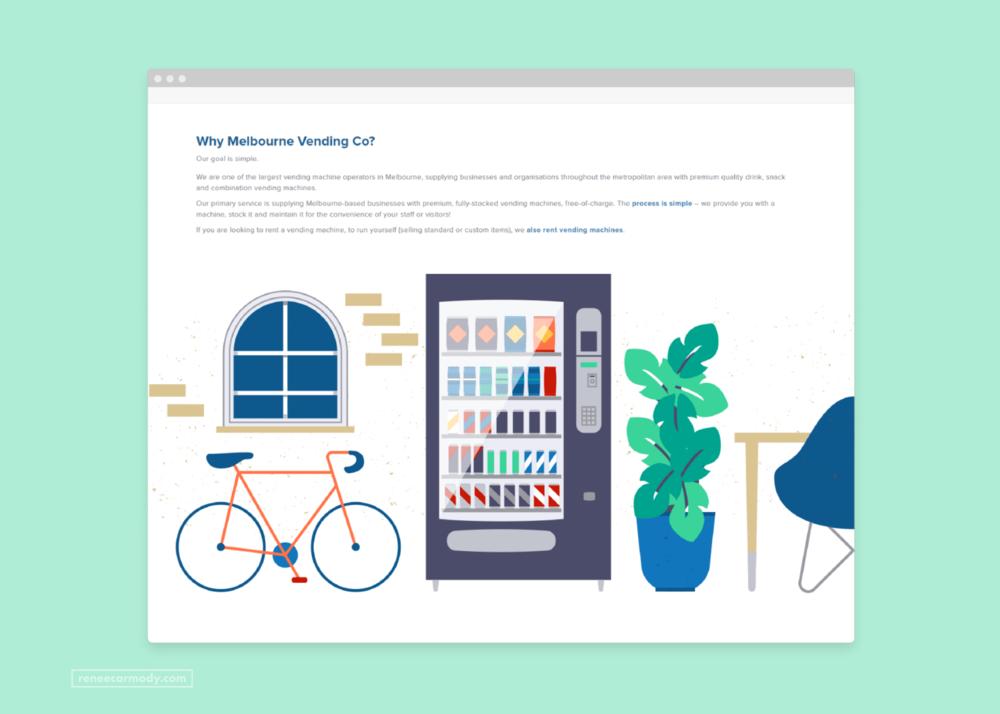 Custom website illustrations for Melbourne Vending Co by Renée Carmody Design.