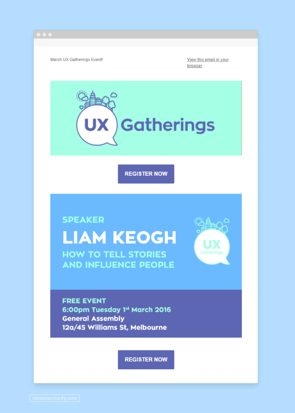 Brand and email newsletter template design for UX Gatherings by Renée Carmody Design.