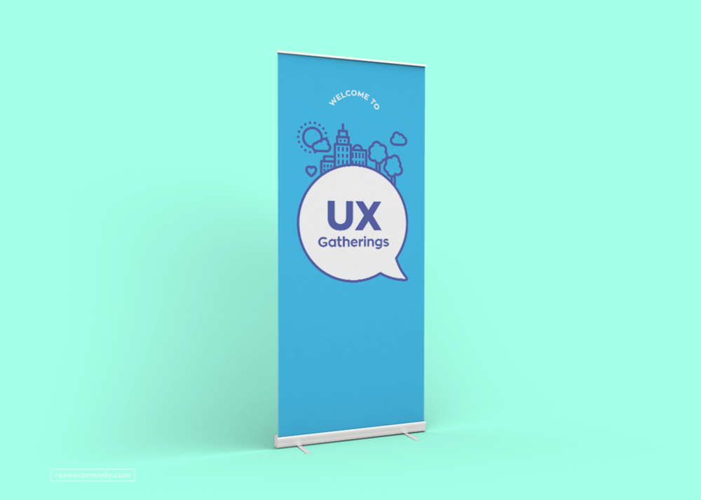 Event banner design by Renée Carmody Design for UX Gatherings