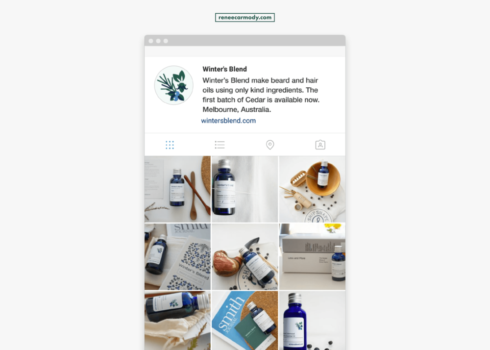 Brand and social media design by Renée Carmody Design  for Winter's Blend—a beard and hair oil company using only kind ingredients.