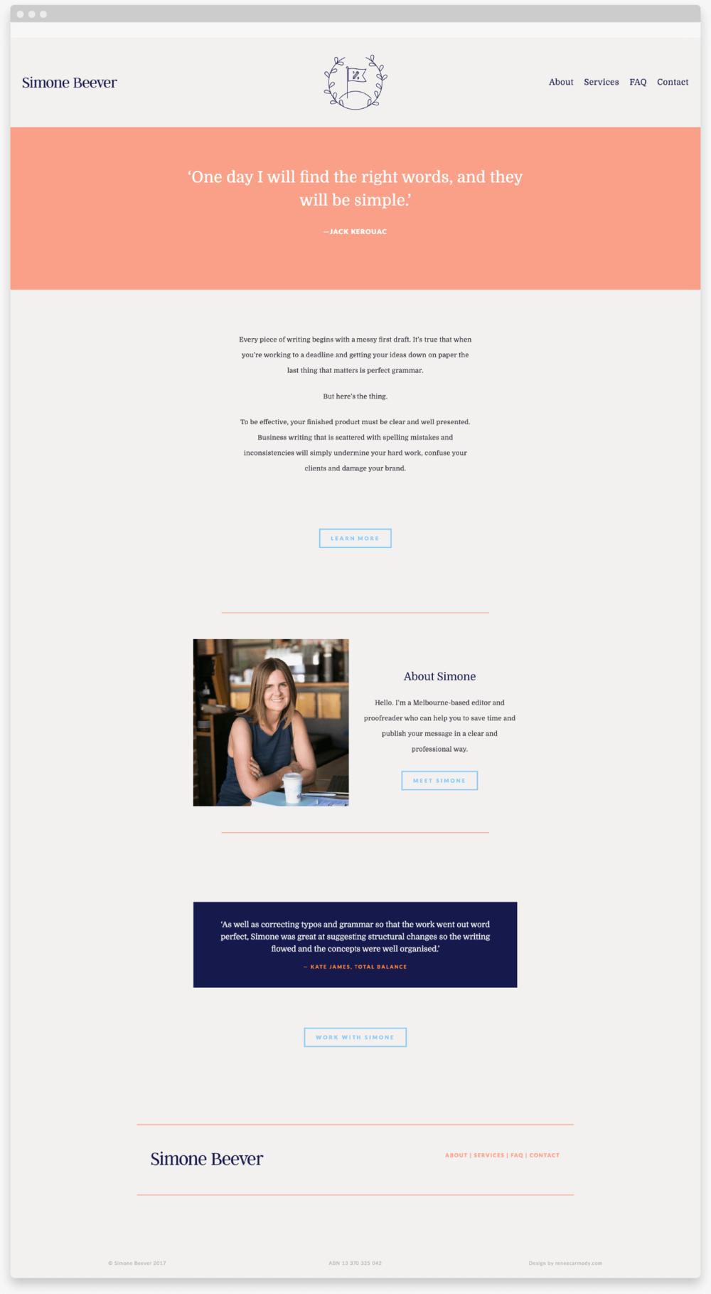 Brand and website design for Melbourne-based writer, editor and proofreader, Simone Beever by Renée Carmody Design. reneecarmody.com