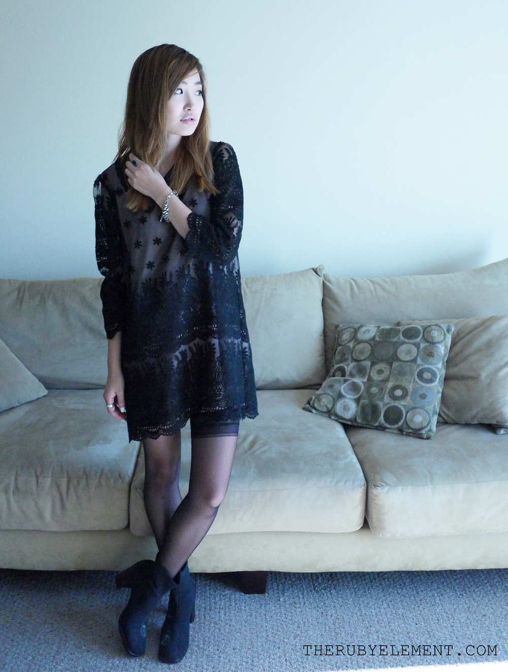 [the elements: black liner ( Stylenanda ), lace shift dress with a collar (Korea), sheer stockings (Nordstrom), boots (vintage, thanks mama!)]