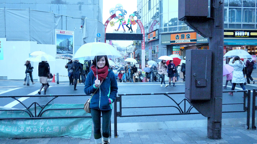 [My sister in front of Harajuku Street]