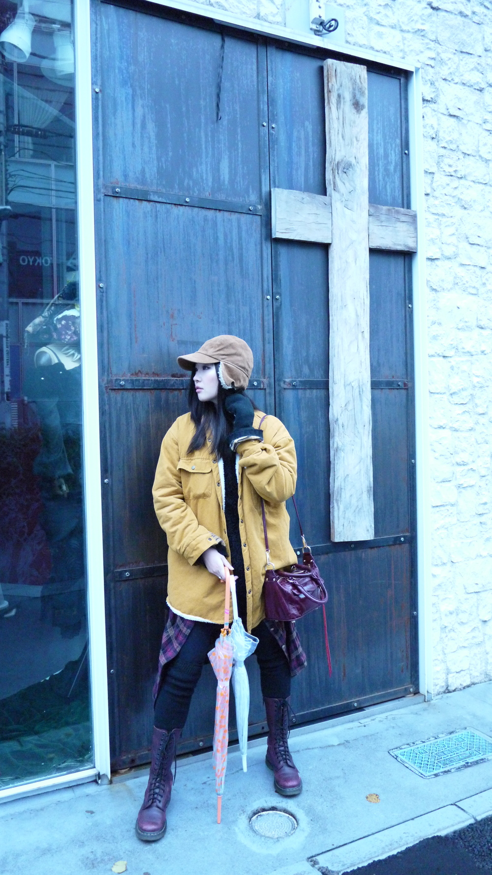 [ the elements : hat from Tokyo, jacket from Korea, Kaitlyn flannel,  Monki  quilted shorts and gloves, Rebecca Minkoff Darcy satchel, tights & thigh highs from Korea, Dr. Martens from  Solestruck ]