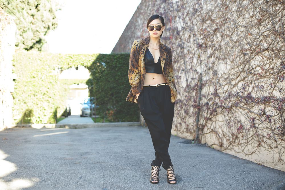 [ the elements  |  karen walker number one  | vintage leopard blazer |  calvin rucker leather bustier & trousers  |  zara belt & heels ]