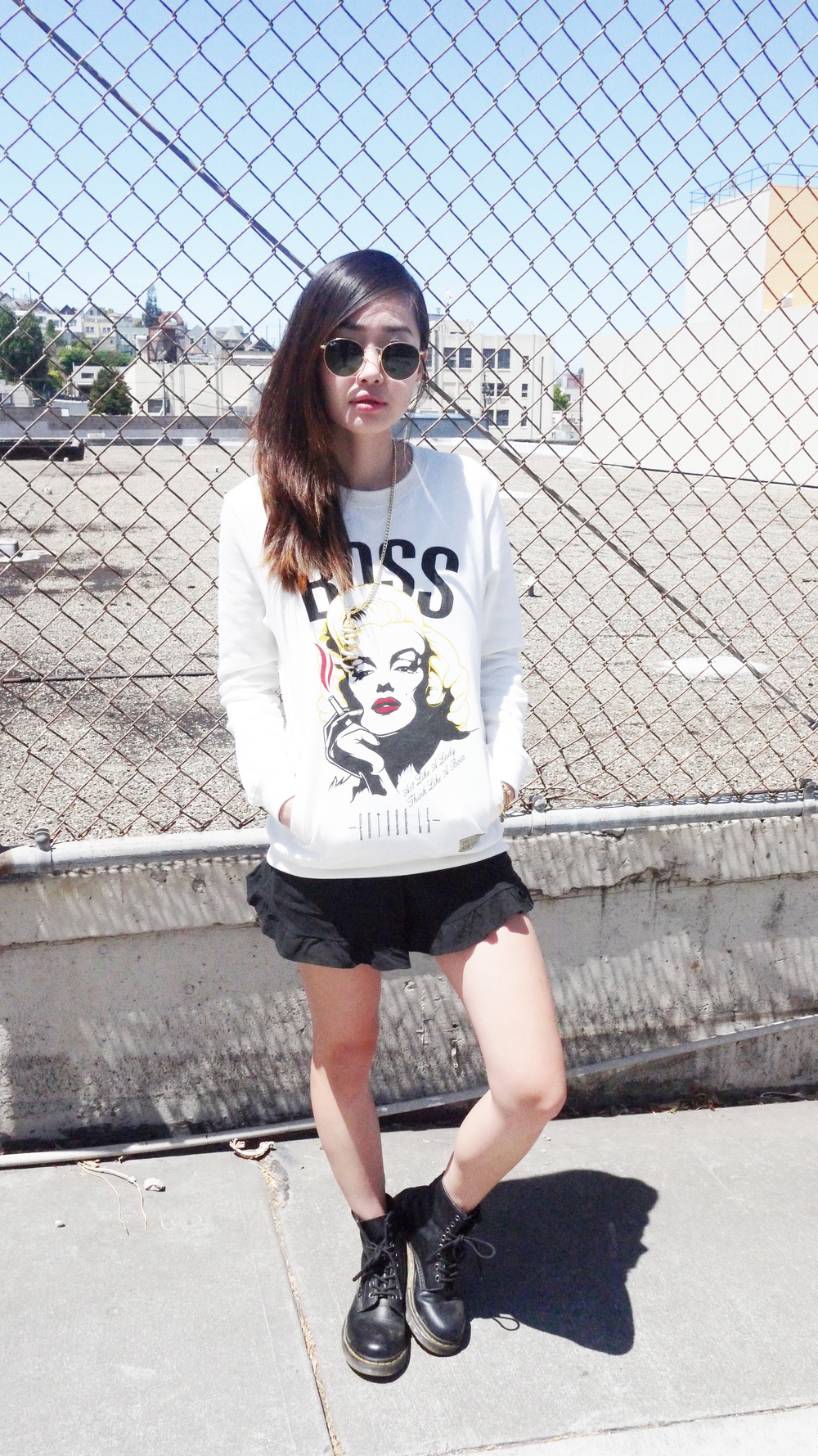[sunnies | Ray Ban, crewneck | Entree Lifestyle, shorts | Love Junkee, boots | Docs]