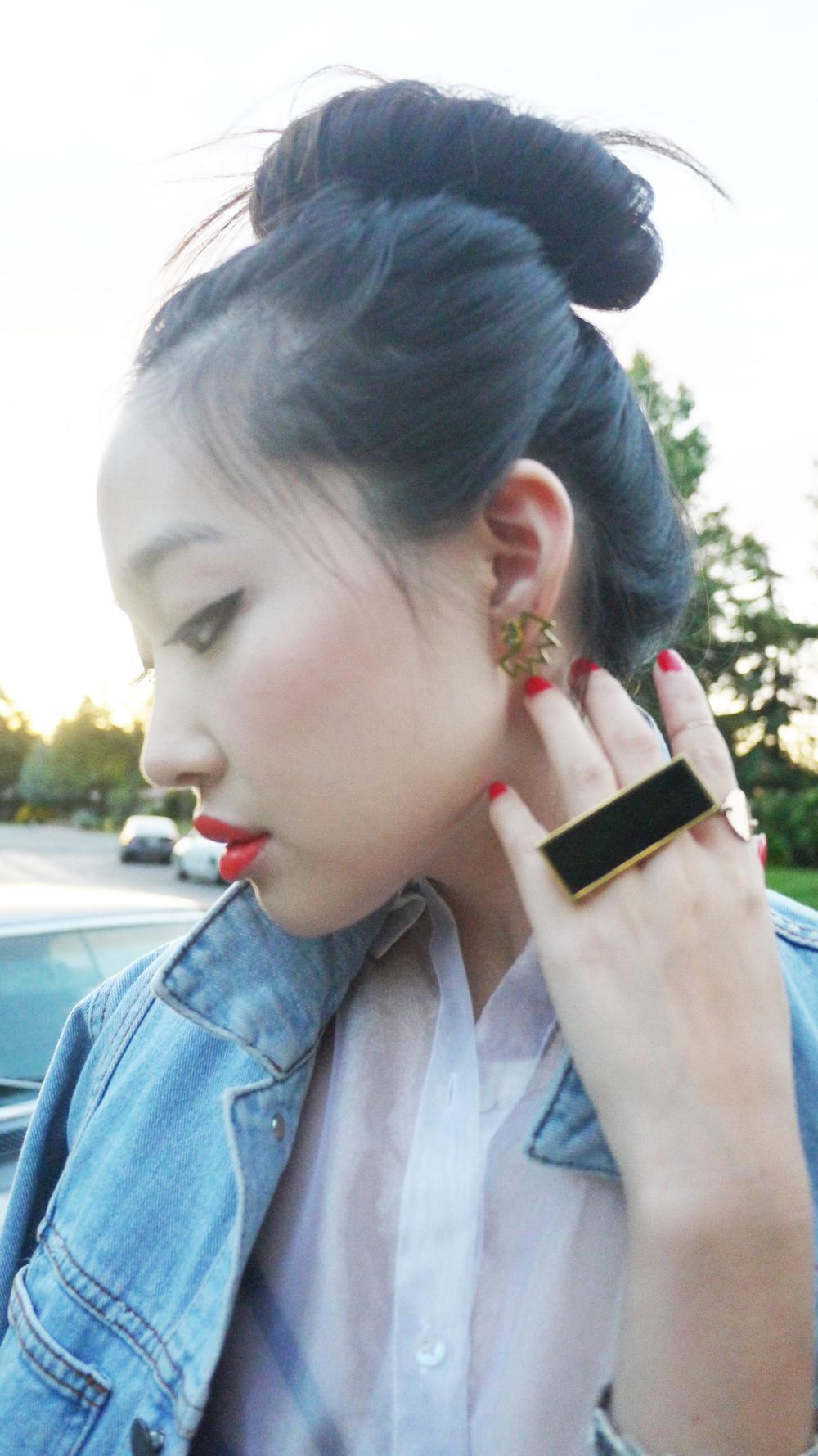 [ lips |  Morange ,  earrings |  Miss Wax , ring |  Miss Wax ]