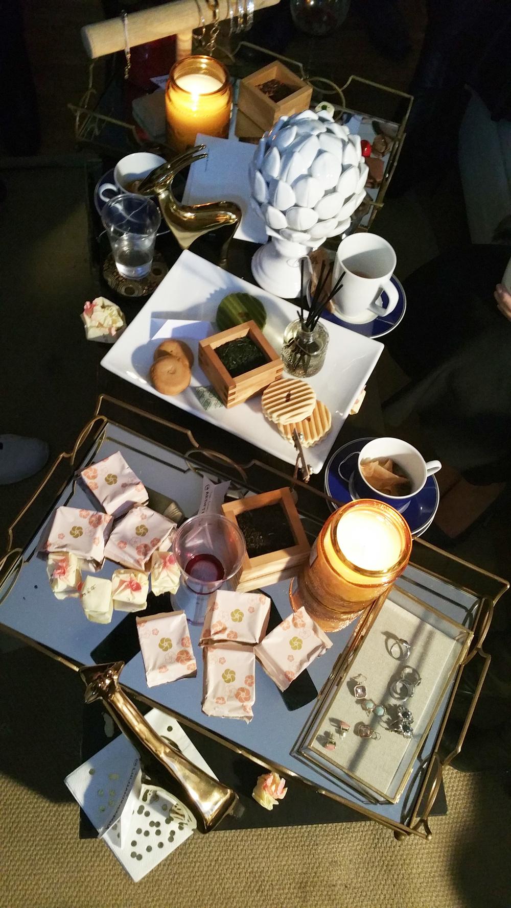 [Tea:  Art of Tea , Desserts:  Minamoto Kitchoan  , Wine:  Chloe Wine Co. , Candes:  Voluspa , Table + Decor:  Lulu + Georgia , Jewelry:  Chloe + Isabel ]