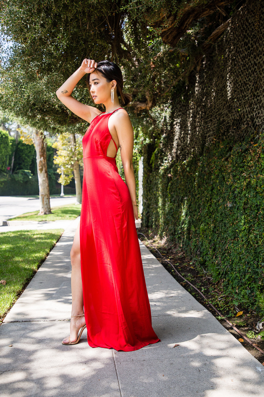 [ the elements |  dress:  PrettyLittleThing   Red Strappy Back Detail Chiffon Maxi Dress , earrings:  Janna Conner Crystal Marquis Fringe Earrings , bracelet:  Vita Fede , shoes:  Stuart Weitzman Nudist Heels ]