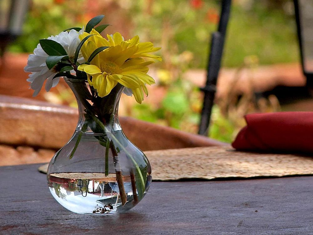 Bring a simple bouquet with you, find a nice quiet spot to eat away from the office and relax eat enjoy!