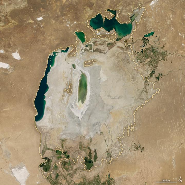 Shrinking Aral Sea NASA August 2016 image
