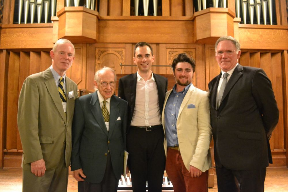 L to R: John Rose, Director of Trinity College Chapel Music (and a great teacher and friend to Chris and I); Charles Dodsley Walker '40, renowned organist and conductor; Christopher Houlihan '09, a great friend and collaborator (and a true organ phenom); me ('07, for the record); and James F. Jones, Jr., the president of Trinity College and a hugely positive force in the musical life at Trinity.