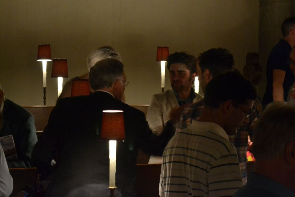 That's me, cloaked in darkness, speaking with Jimmy Jones after the concert. He's just a wonderful man, and a great advocate for many of us musical alums.