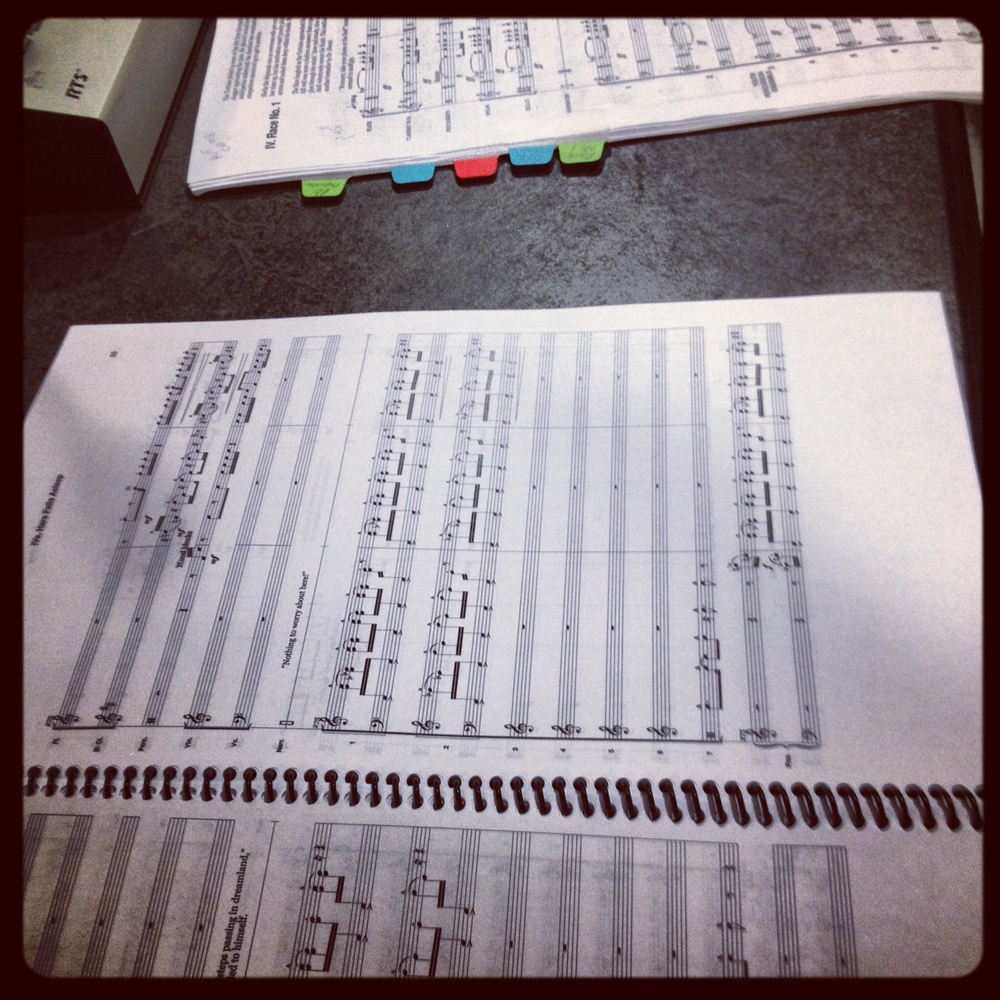 Taking recording notes in the score.