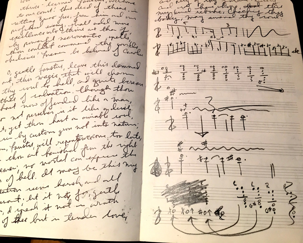 Left: Memorizing lines for Wax Wings Productions' THE TRAGICAL HISTORY OF DOCTOR FAUSTUS; Right: Mapping out clarinet multiphonics for CHARLES & RAY