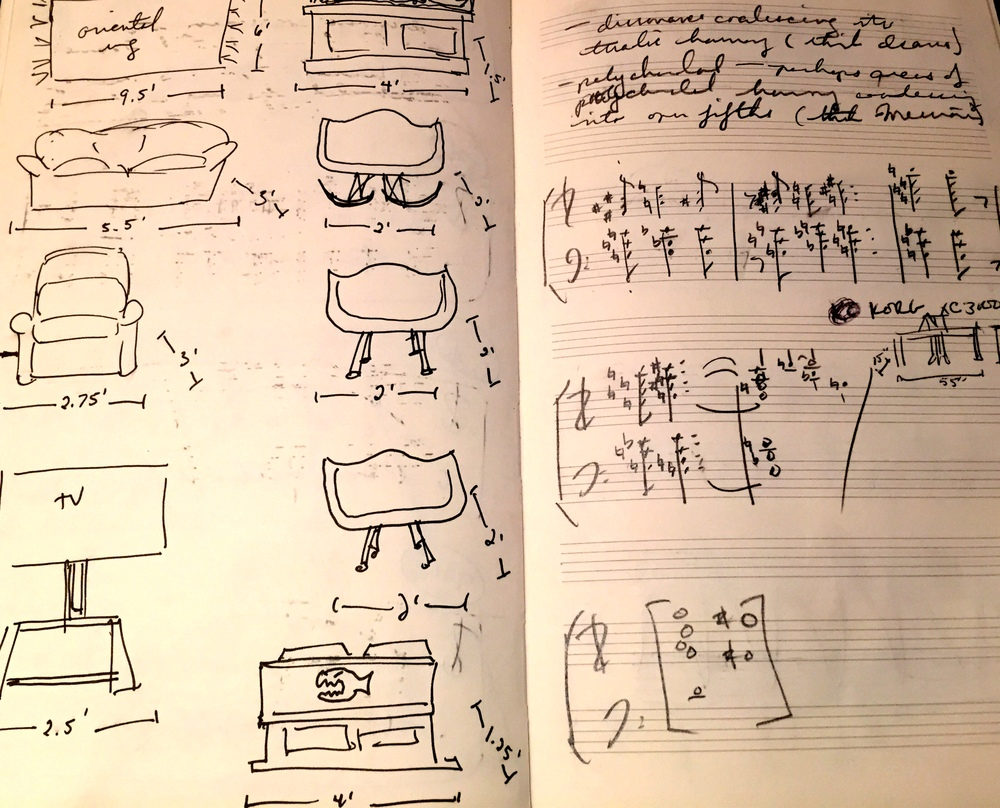 Left: Measuring furniture in preparation for our move to Lincoln, MA in February of 2013; Right: The first harmonic sketches of STEEL SYMPHONY