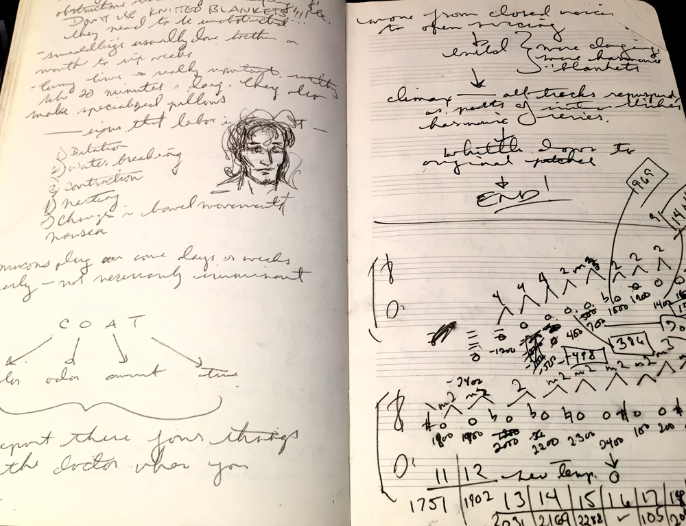 "Left: Notes from our ""birthing class"" at Mount Auburn Hospital (where our son was born a few months later); Right: Figuring out the ending to STEEL SYMPHONY"