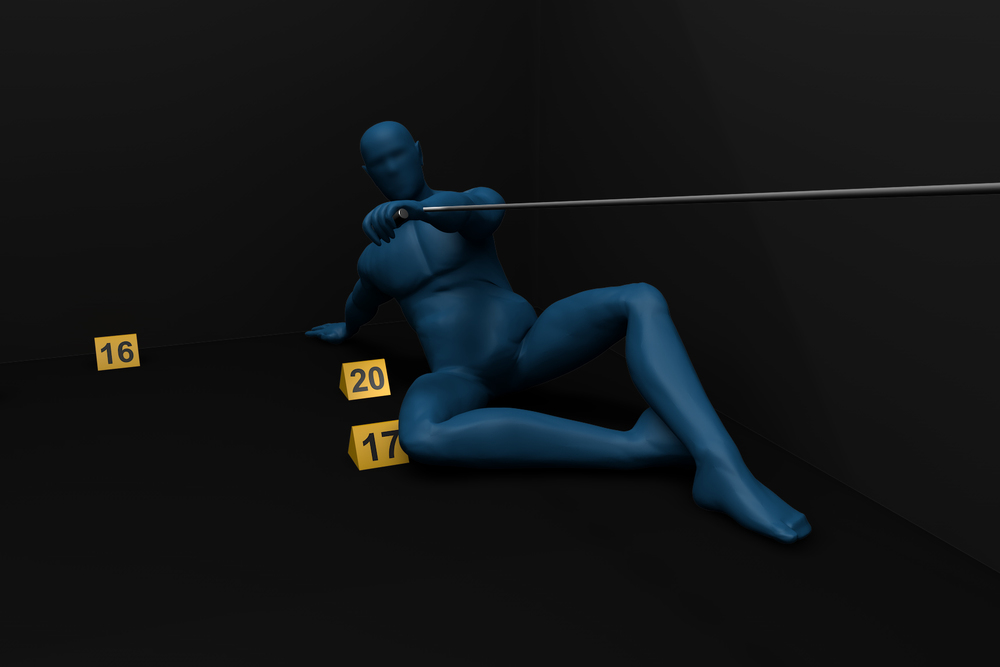3D image of deceased position based upon defense investigation.  Jury found client not guilty of all charges.