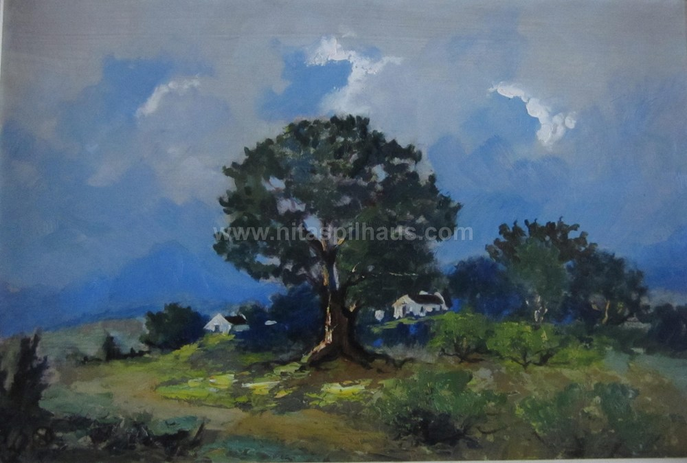 Trees in a landscape with cottages Oil on Board 30 x 45 dated 1953 Collector 5