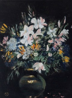 Flowers in Vase Oil on board 28 x 19 Collector 10