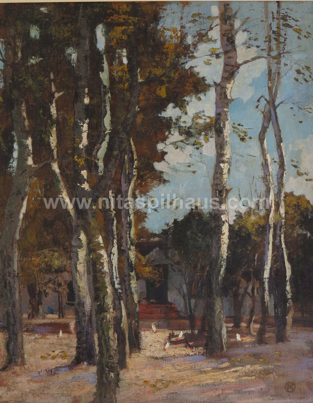 Untitled painting of avenue of trees. Oil, 74.5 x 59.5,  Collector 20