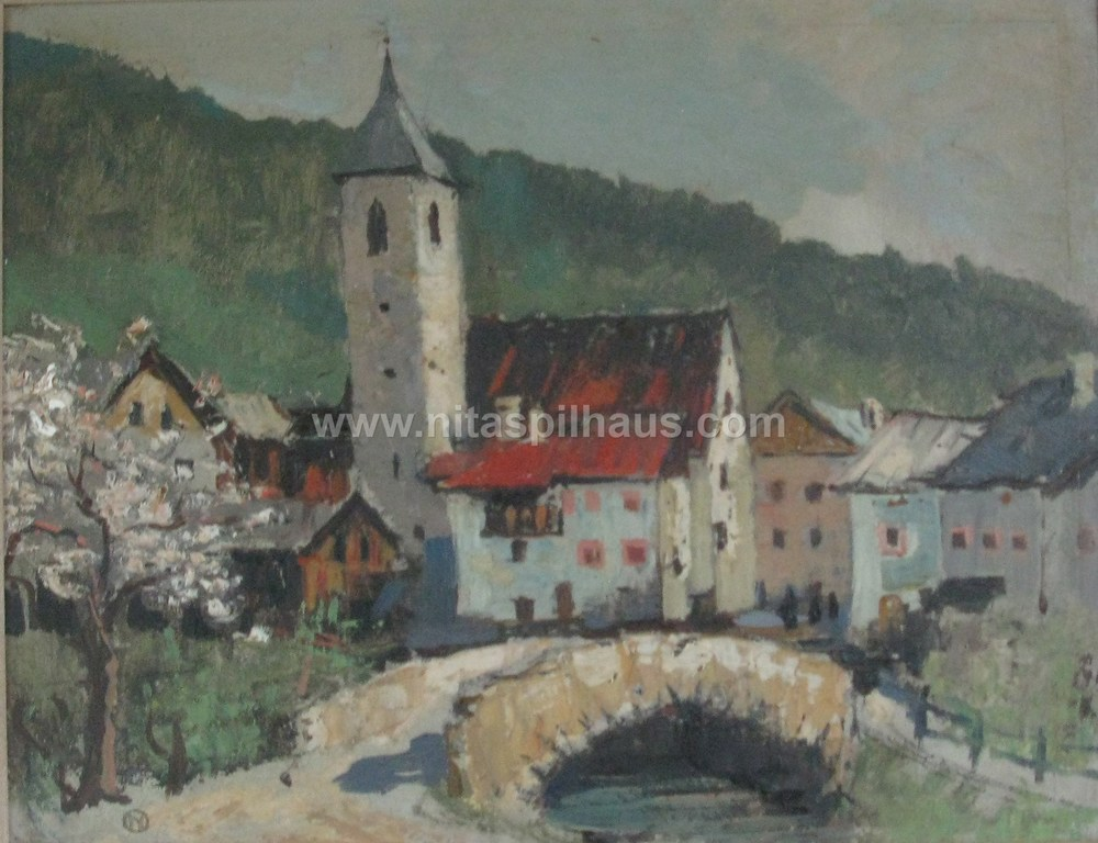 Untitled village and bridge Oil 33cm x 40cm Collector 25